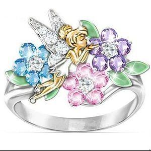 🎀Stunning Crystal Flower Fairy Ring